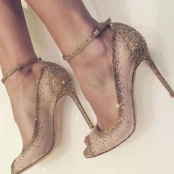 Peep Toe Stiletto Heel Rhinestone Line-Style Buckle Low-Cut Upper Banquet Thin Shoes