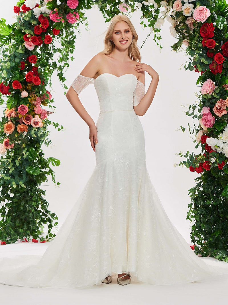 Trumpet/Mermaid Lace Court Off-The-Shoulder Garden/Outdoor Wedding Dress