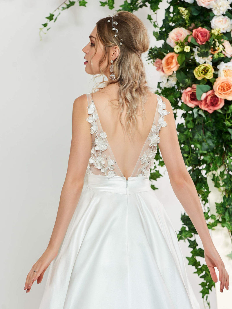 Scoop Flowers Chapel Floor-Length Hall Wedding Dress