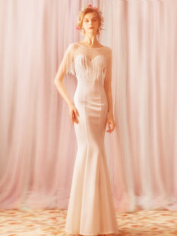 Bateau Beading Floor-Length Trumpet/Mermaid Formal Dress