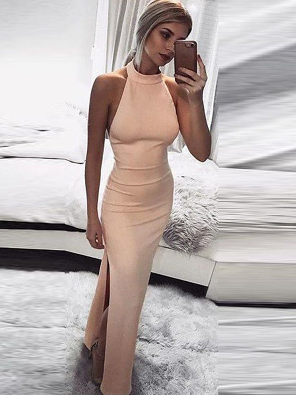Split Floor-Length Stand Collar Plain Standard-Waist Dress