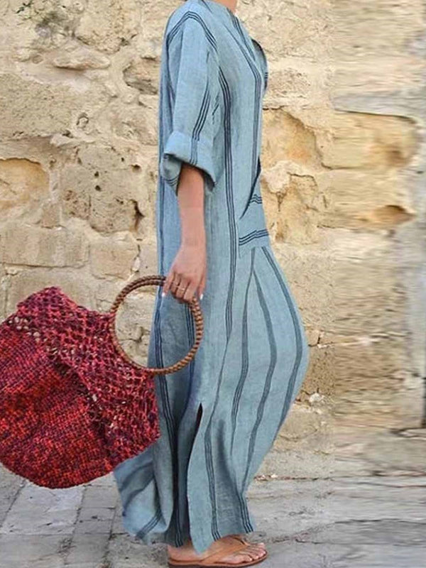 Ankle-Length V-Neck Long Sleeve Mid Waist Summer Dress