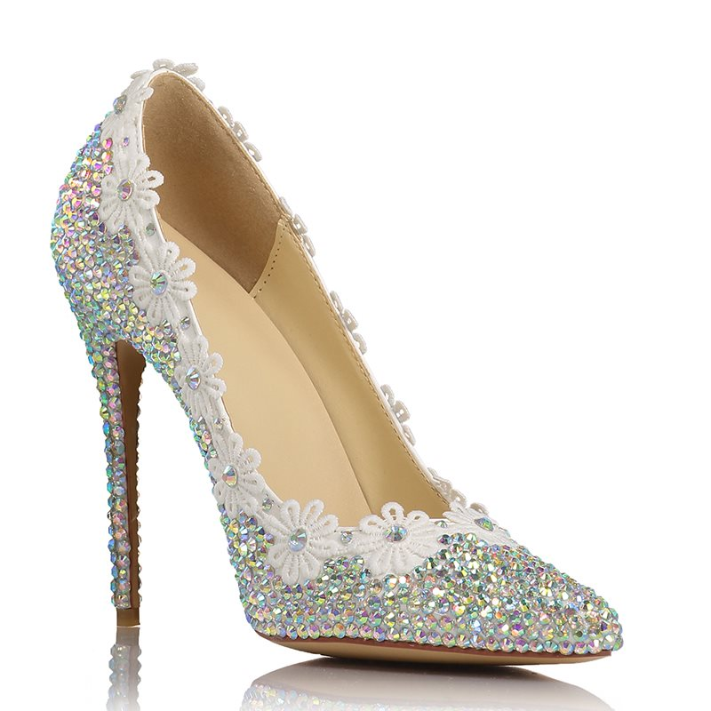 Pointed Toe Rhinestone Stiletto Heel Slip-On Low-Cut Upper Floral Thin Shoes