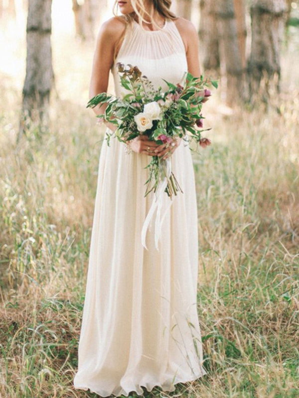 Scoop Sleeveless A-Line Floor-Length Beach Wedding Dress