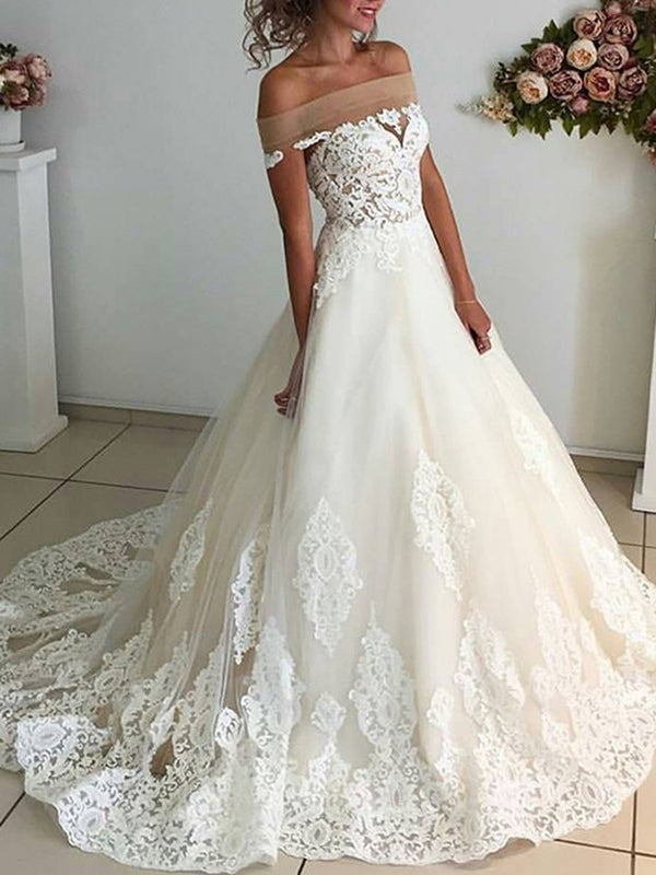 Appliques Court Floor-Length Off-The-Shoulder Hall Wedding Dress