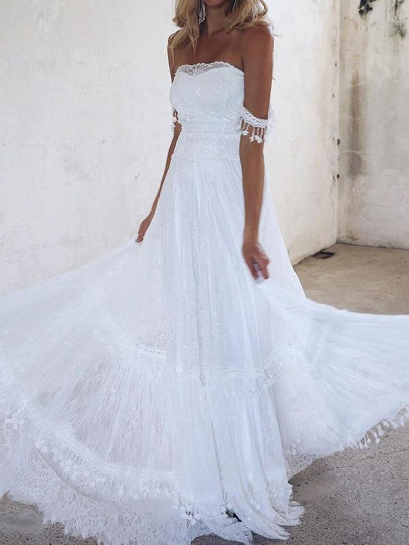 Floor-Length Sleeveless Strapless A-Line Garden/Outdoor Wedding Dress