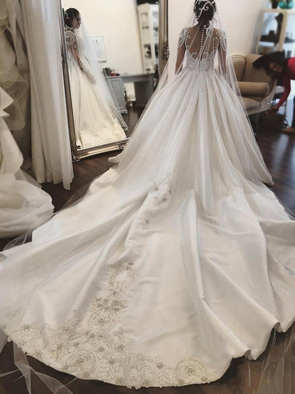Long Sleeves Beading V-Neck Cathedral Church Wedding Dress