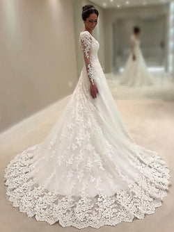 Long Sleeves A-Line V-Neck Beading Hall Wedding Dress