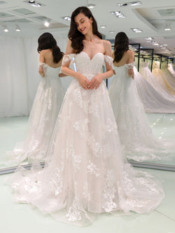Lace Floor-Length A-Line Short Sleeves Hall Wedding Dress