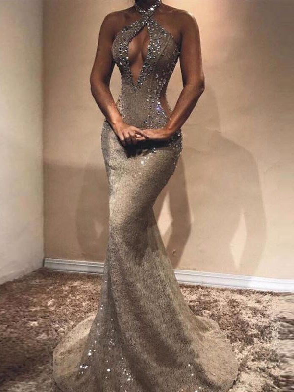 Sequins Halter Floor-Length Court Evening Dress