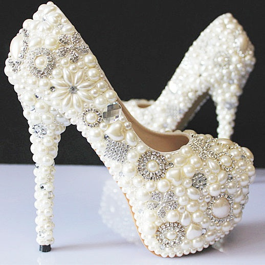 Rhinestone Stiletto Heel Slip-On Round Toe Sweet Ultra-High Heel Thin Shoes