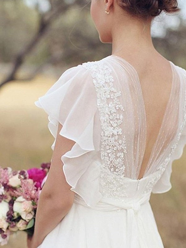 A-Line Short Sleeves Sashes/Ribbons V-Neck Garden/Outdoor Wedding Dress