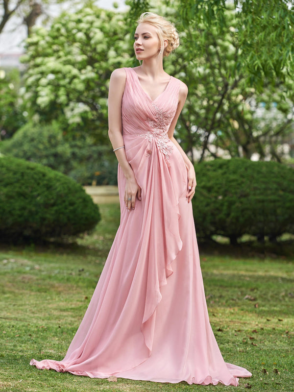 A-Line Floor-Length Sweep/Brush Appliques Wedding Party Dress