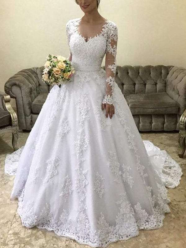 Appliques V-Neck Court Ball Gown Hall Wedding Dress