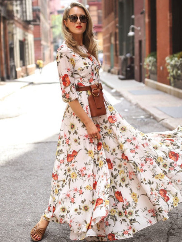 Floor-Length Half Sleeve Print Fashion Expansion Dress