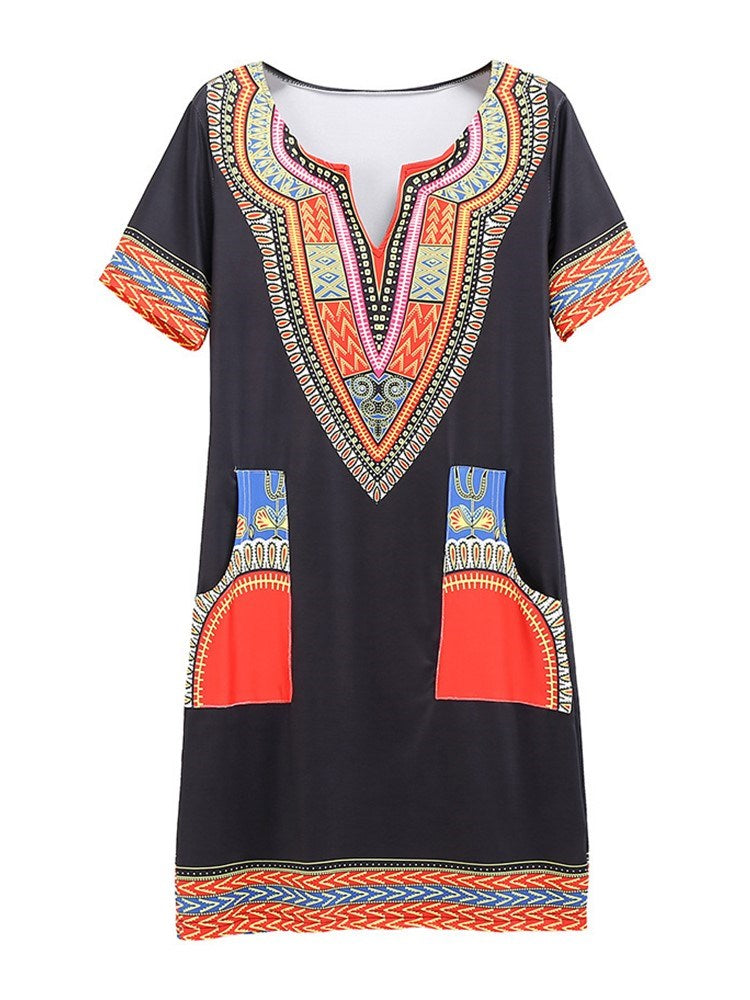 Patchwork Short Sleeve Above Knee Summer Straight Dress