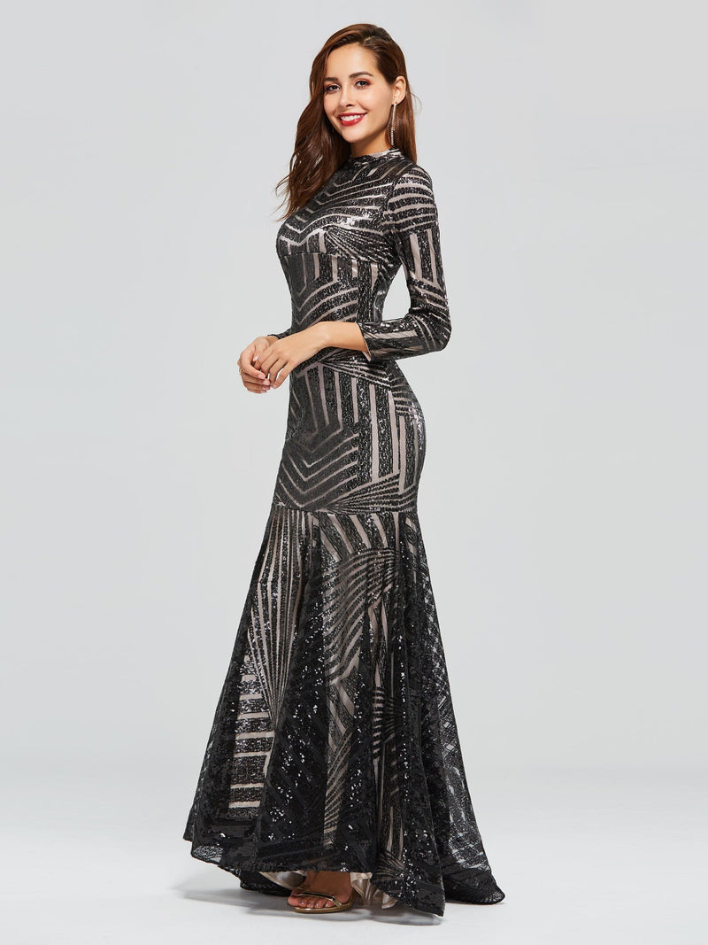Sweep/Brush Trumpet/Mermaid High Neck Floor-Length Evening Dress