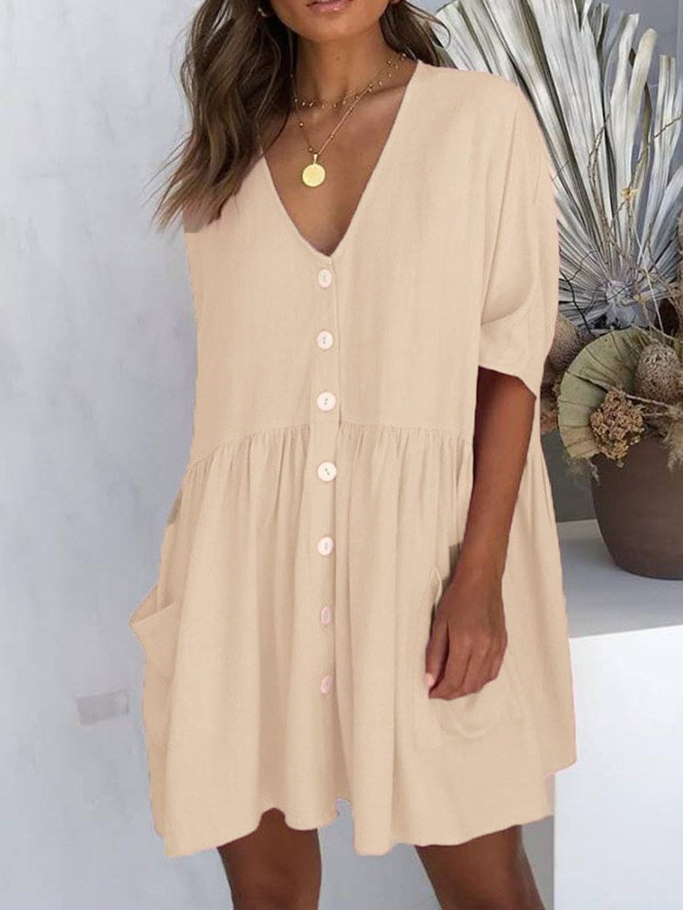 V-Neck Pocket Half Sleeve Single-Breasted Regular Dress