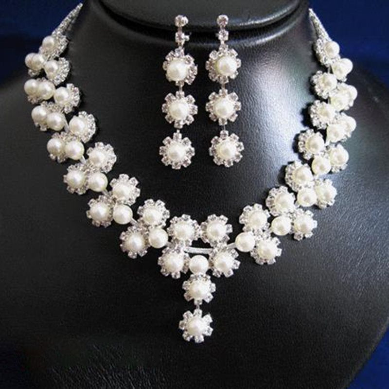 Plain Pearl Inlaid Necklace Birthday Jewelry Sets