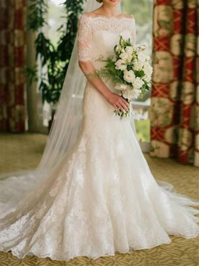 Off-The-Shoulder Floor-Length Half Sleeves Court Garden/Outdoor Wedding Dress