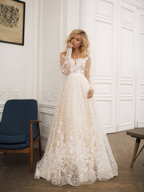 A-Line Scoop Sweep/Brush Lace Beach Wedding Dress