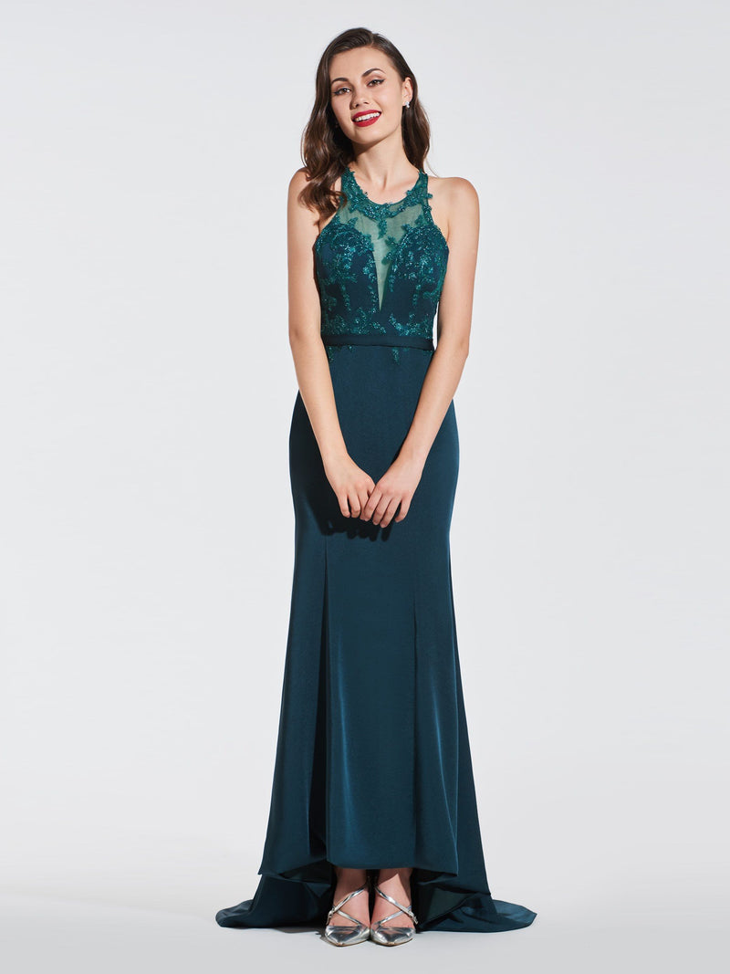 Trumpet/Mermaid Scoop Lace Court Formal Dress