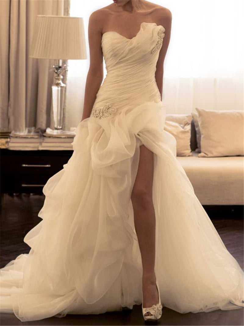 Strapless Floor-Length Pick-Ups Sleeveless Church Wedding Dress