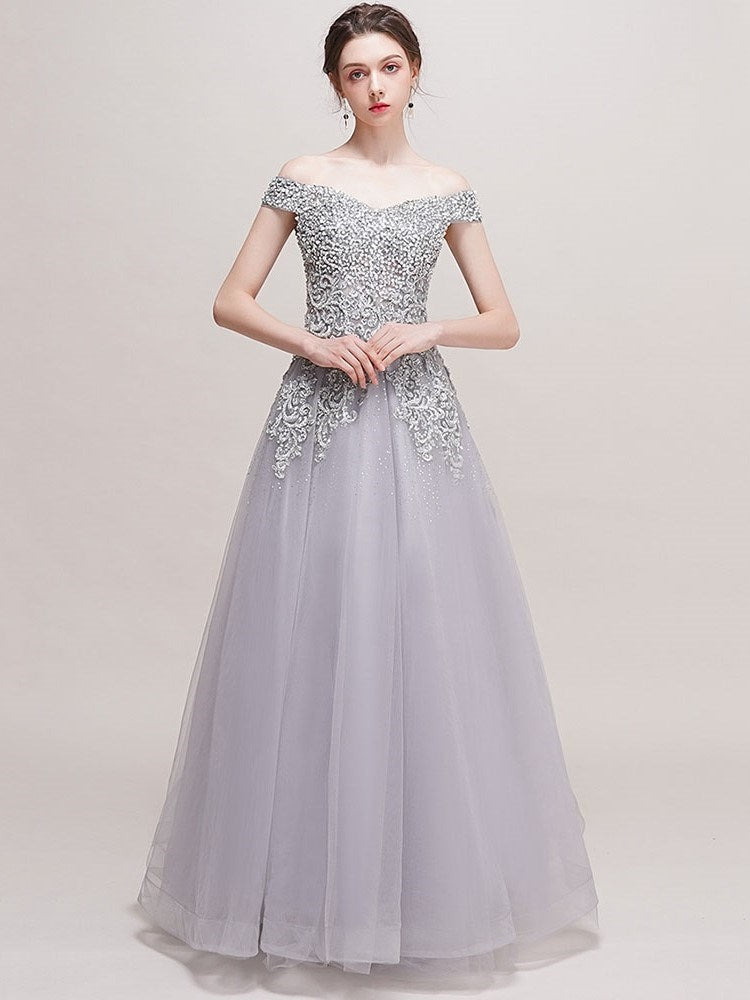Off-The-Shoulder A-Line Floor-Length Embroidery Quinceanera Dress