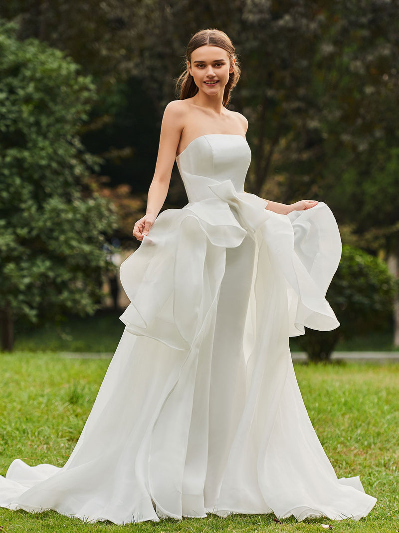 Court Strapless A-Line Sleeveless Hall Wedding Dress