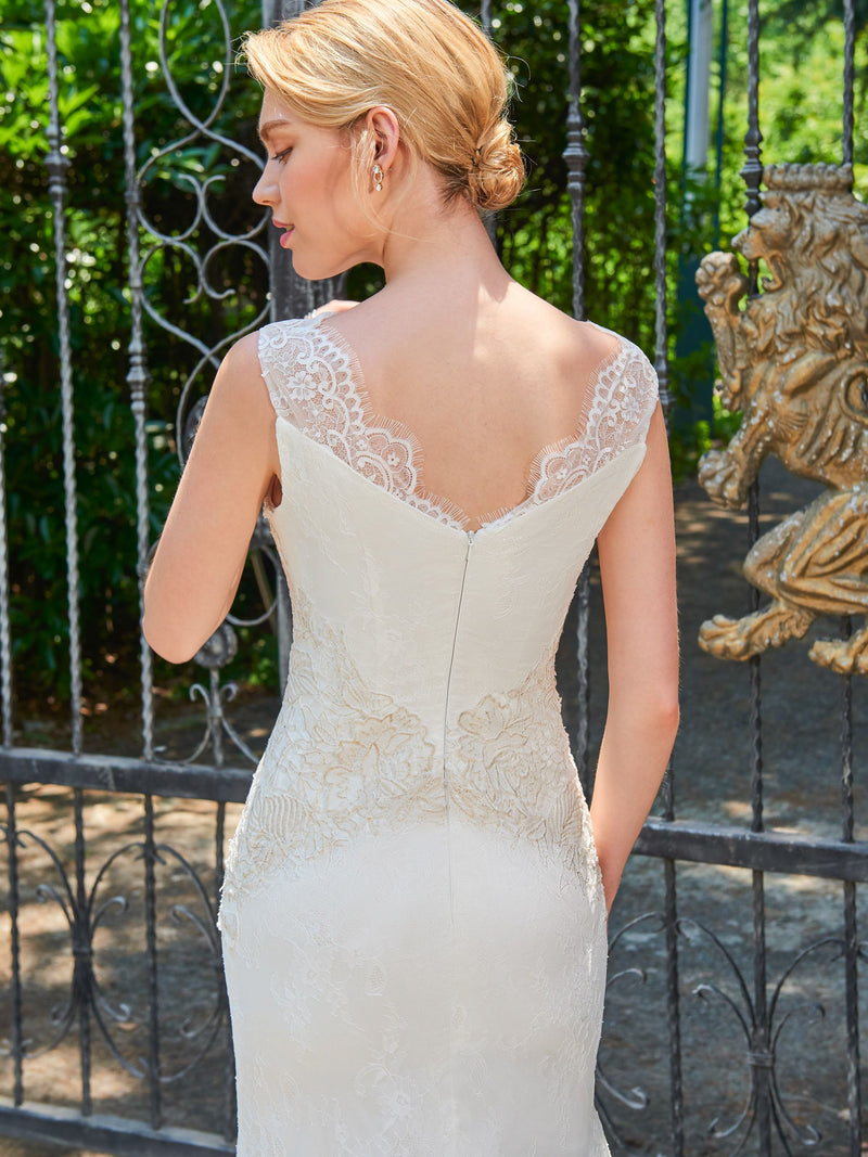 Bateau Appliques Sweep/Brush Sheath/Column Church Wedding Dress