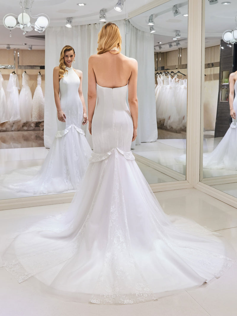 Sleeveless Halter Court Beading Church Wedding Dress