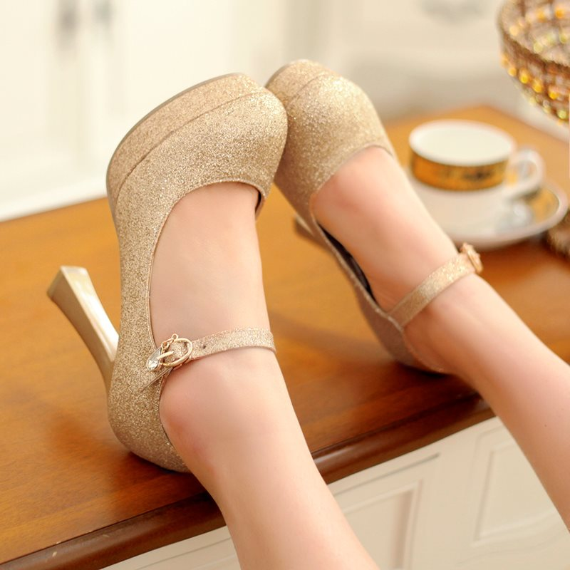 Horse-Shoe Heel Sequin Round Toe Line-Style Buckle Low-Cut Upper 11cm Thin Shoes