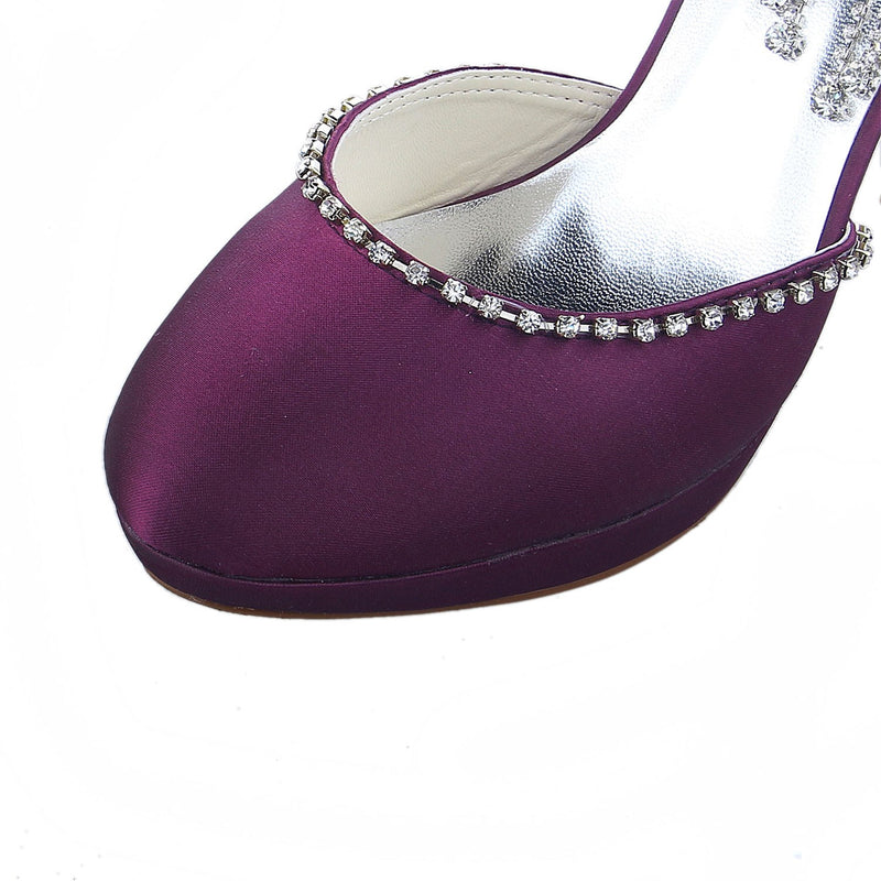Slip-On Pointed Toe Rhinestone 10cm Wedding Thin Shoes