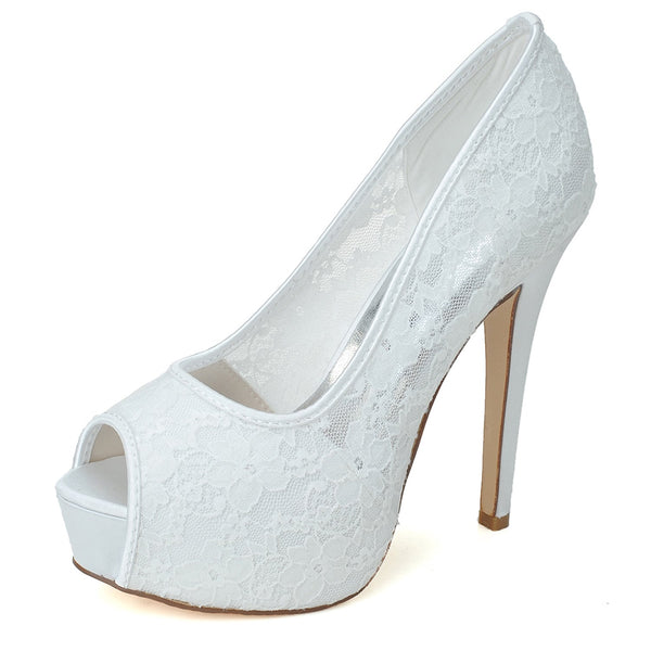 Peep Toe Slip-On Stiletto Heel Wedding Plain Sandals