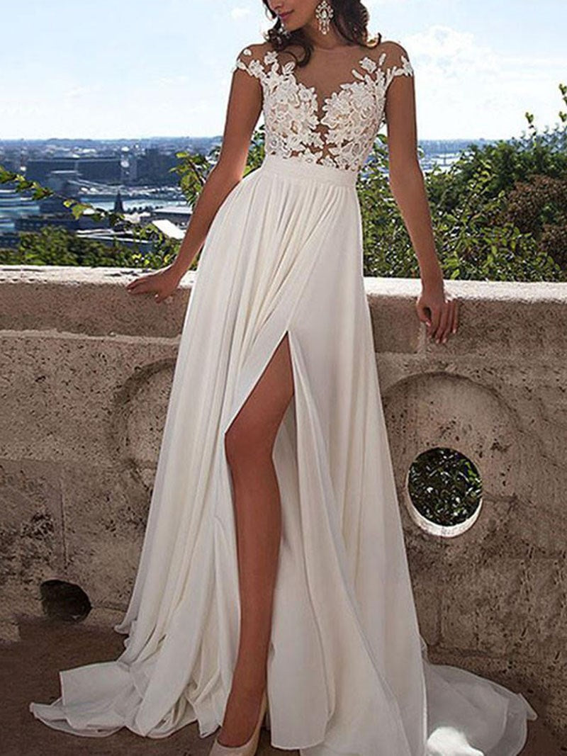 A-Line Sweep/Brush Cap Sleeves Scoop Hall Wedding/Prom Dress