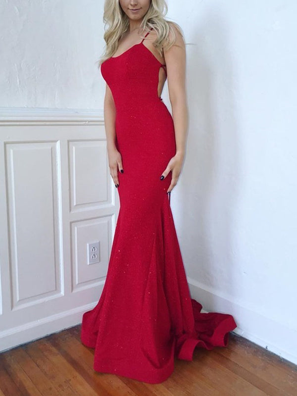 Trumpet/Mermaid Spaghetti Straps Sequins Floor-Length Prom Dress