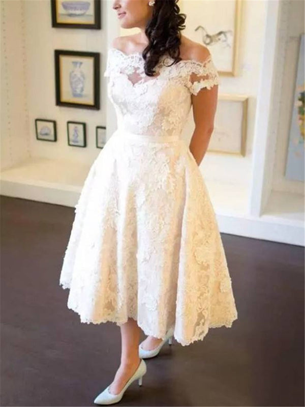 A-Line Lace Tea-Length Off-The-Shoulder Garden/Outdoor Wedding Dress