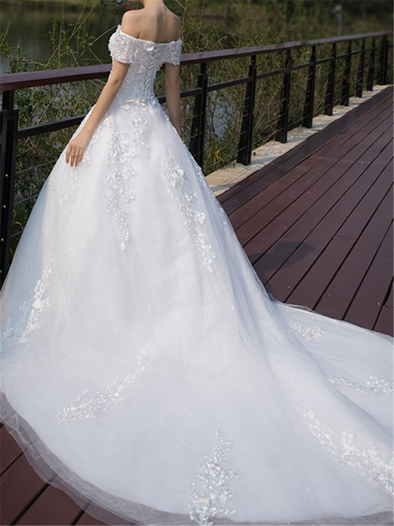 Floor-Length Chapel Off-The-Shoulder Ball Gown Church Wedding Dress