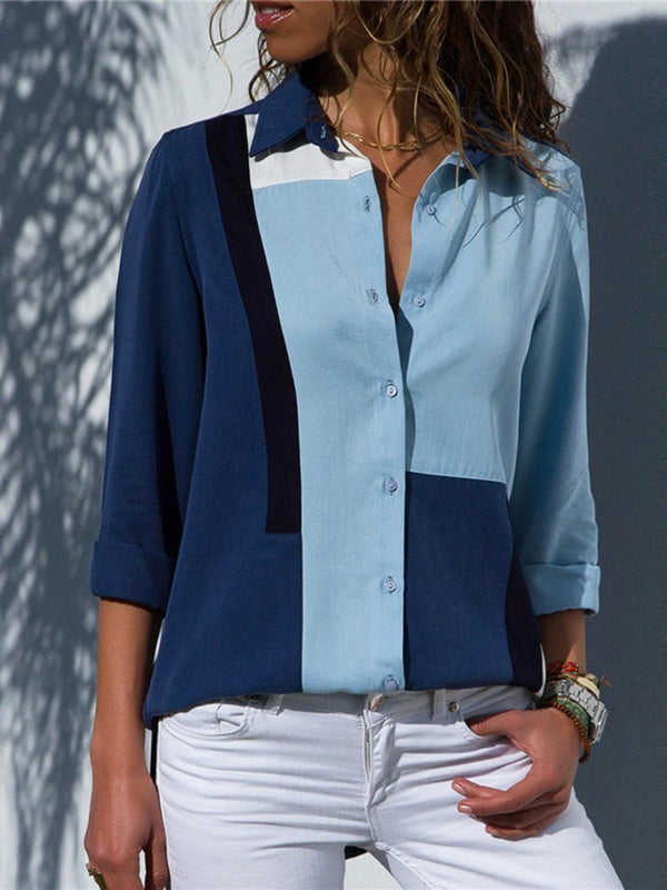 Regular Lapel Stripe Mid-Length Long Sleeve Blouse