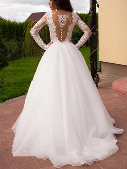 A-Line Appliques V-Neck Sweep/Brush Beach Wedding Dress