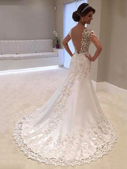 Floor-Length Trumpet/Mermaid Court Short Sleeves Hall Wedding Dress