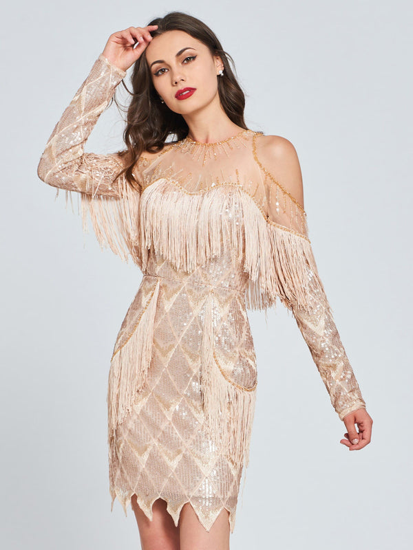 Long Sleeves Sequins Sheath/Column Jewel Cocktail Dress