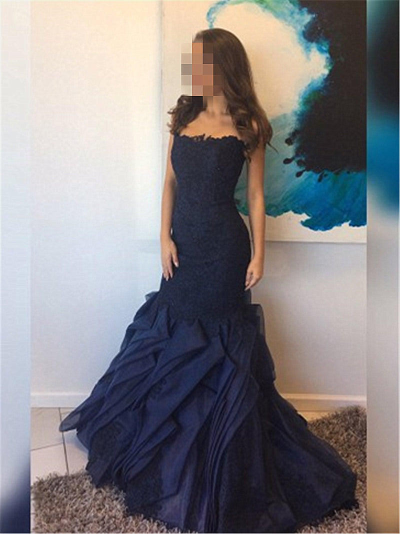 Floor-Length Appliques Trumpet/Mermaid Sleeveless Prom Dress