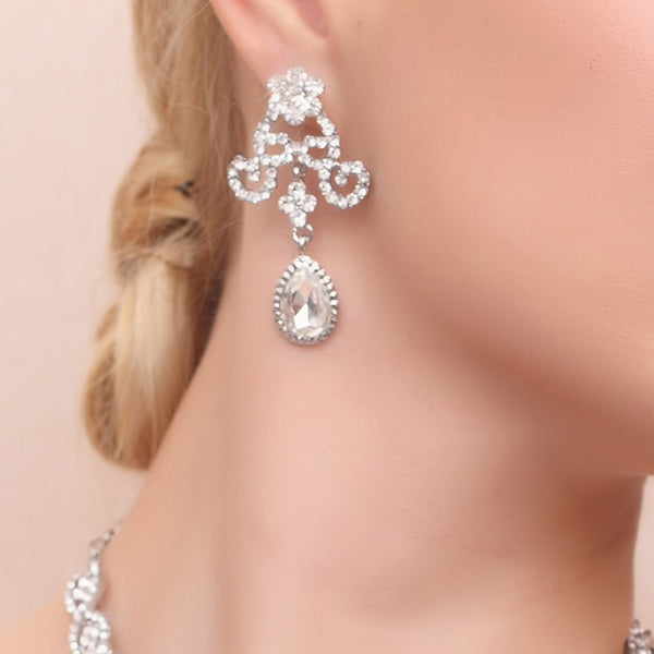 European Geometric Diamante Wedding Jewelry Sets