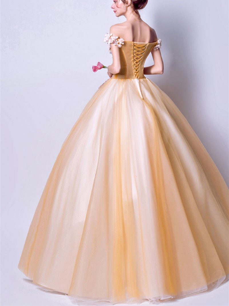 Sleeveless Off-The-Shoulder Ball Gown Appliques Quinceanera Dress
