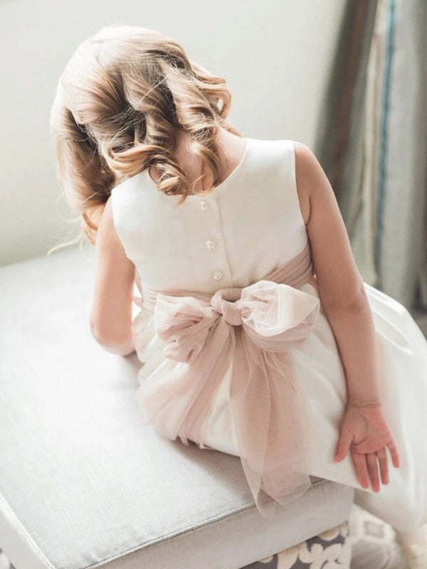 Floor-Length Sashes/Ribbons Scoop A-Line Flower Girl Dress