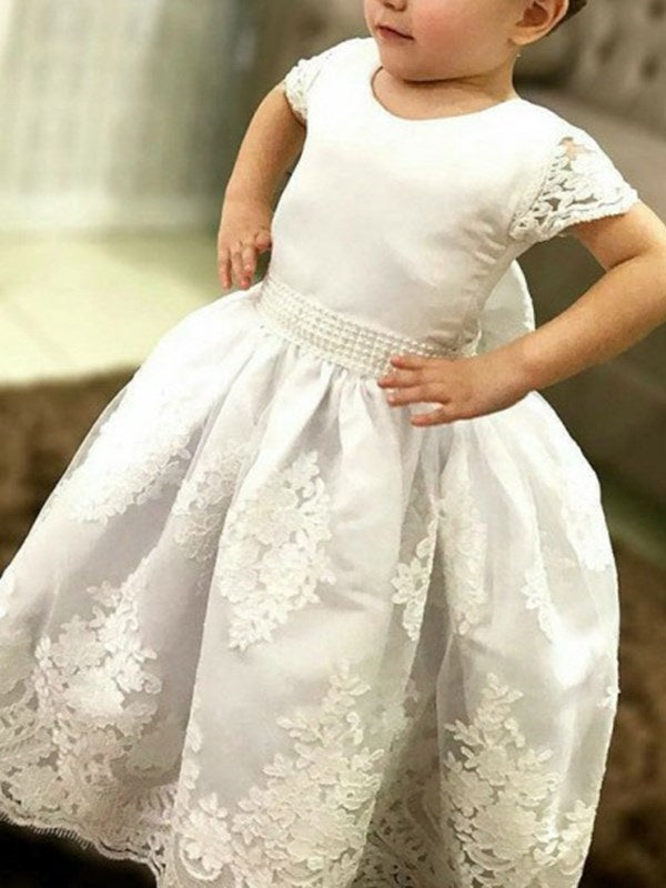 Short Sleeves Ball Gown Bowknot Scoop Flower Girl Dress