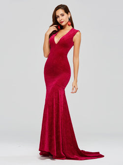 V-Neck Floor-Length Sweep/Brush Sleeveless Evening Dress