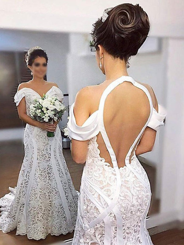 Trumpet/Mermaid Lace Floor-Length Off-The-Shoulder Hall Wedding Dress
