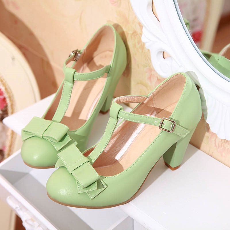 Round Toe Chunky Heel Line-Style Buckle Bow Plain Low-Cut Upper Thin Shoes